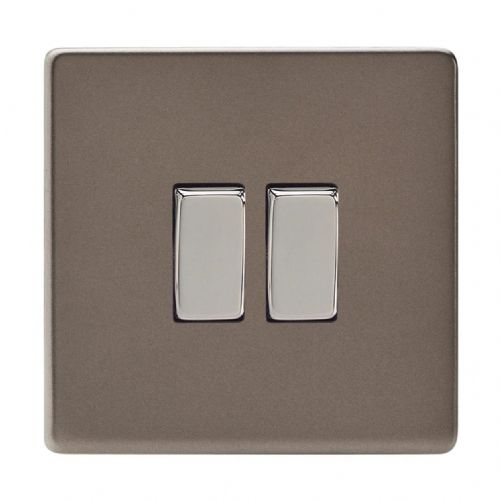 Varilight XDR2S Screwless Pewter 2 Gang 10A 1 or 2 Way Rocker Light Switch